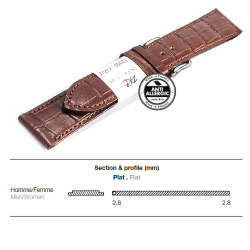 Ремешок ZRC 5492203XL MAT CALF ALLIGATOR BROWN 22MM